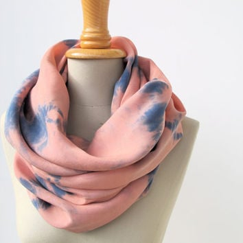 tiedyed scarf infinity loop in peach and blue like by StAnderswo