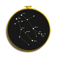 Gemini constellation star chart in embroidery by TheDopelerEffect