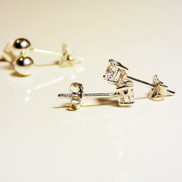 2 sterling silver stud earrings    cz stud earrings   925 ball earrings   cz stud earrings    set of 2 stud earrings    ball stud earrings