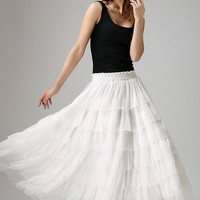 White chiffon skirt woman maxi skirt long tulle skirt layered skirt (895)