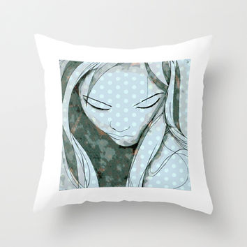 Beautiful Girl Throw Pillow by Uma Gokhale