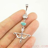 arrow belly ring,turquoise Belly Button Rings, turquoise belly button jewelry,bow and arrow Navel Jewelry,friendship bellyring