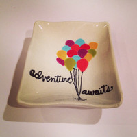 "Ceramic ""Adventure Awaits"" Balloons Wavy Rectangle Dish"