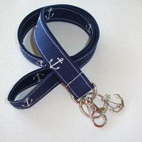 Lanyard  ID Badge Holder - Anchors with anchor CHARM - Lobster clasp and key ring - navy blue white