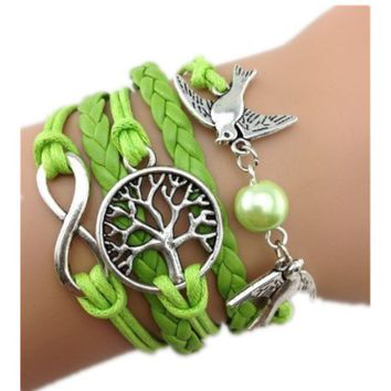 Healthtop Handmade Infinity Love Birds Wish Tree Green Leather Rope Wrap Bracelets Friendship Bangle