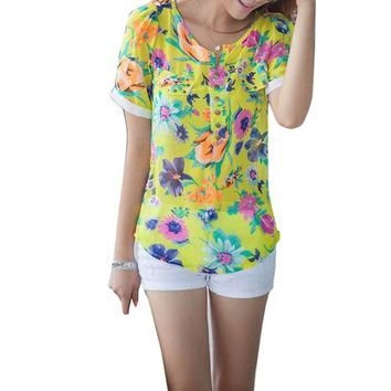 Zeagoo Women's Chiffon Floral Printed Y Collar Short Sleeve Blouse Shirt