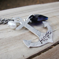 Hope hand stamped anchor and crystal heart necklace with pearl aluminum