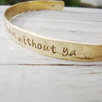 Ariana Grande- One less problem without ya brass hammered bracelet lyrics