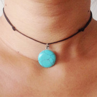 Turquoise Marble Choker Necklace - Adjustable Cord