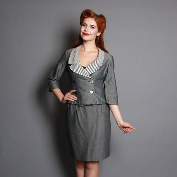 60s Slate Grey Cotton SUIT / Double Breasted Set, xs