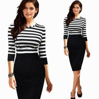Janecrafts Lady's Casual Office Striped Contrast Dress.