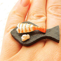 Food Ring Sushi Shrimp Ebi by SouZouCreations on Etsy