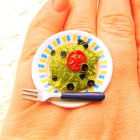 Kawaii Food Ring Salad Miniature Food Jewelry by SouZouCreations