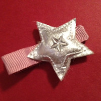 SALEpink clip and silver star girls hair clip by KaitsHairWear