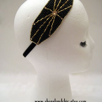The Mae - Art deco headband, Gatsby hairband, flapper style, Downton Abbey style headpiece, 1920s hairpiece, black and gold hair piece