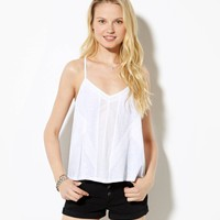 AE Cropped Swing Tank, White | American Eagle Outfitters