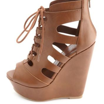 Strappy Cut-Out Lace-Up Platform Wedges