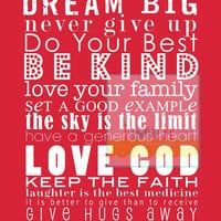 Encouraging Subway Art Poster Print Be Kind Faith by iloveitall