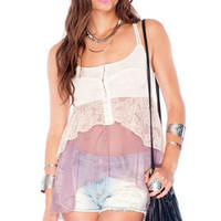 Hard of Tiering Laced Tank Top in Plum :: tobi