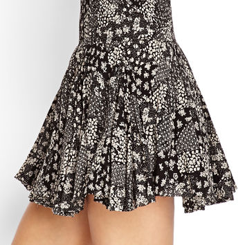 FOREVER 21 Smocked Floral Skater Skirt Black/Cream
