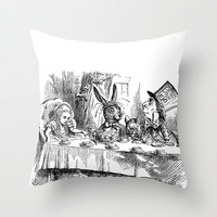 Vintage Alice in Wonderland Mad Hatter & rabbit tea party antique goth emo book gothic drawing print Throw Pillow by iGallery