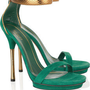 Gucci|Suede and glossed-python sandals|NET-A-PORTER.COM