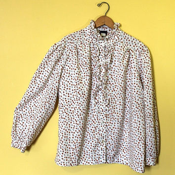 Vintage Office Shirt Women Plus Size Top Ruffle Collar White Retro Secretary Blouse XL Flower Print Long Sleeved Floral
