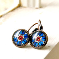 rose window copper lever back cabochon earrings, red blue, bohemian,