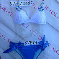 New $110 Sexy Victoria's Secret Shimmer Embellished Triangle Push Up Bikini S