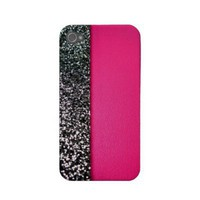 Black  pink glitter iphone cover iphone 4 cover from Zazzle.com