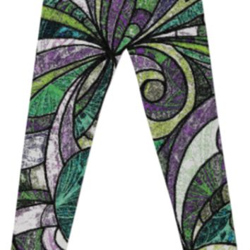 LEGGINGS Drawing Floral Zentangle G17 created by Medusa GraphicArt | Print All Over Me