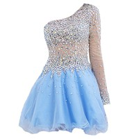 VILAVI Women's A-line One Shoulder Short Tulle Rhinestone Prom Dresses