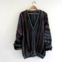 Vintage 1980s abstract Button Up Preppy Oversized Sweater Cardigan // bill cosby XL