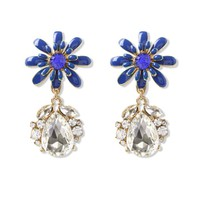 Blue Daisy Crystal Teardrop Earrings Blue