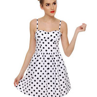Cute Polka Dot Dress - White Dress - Retro Dress