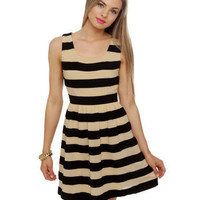 Cute Striped Dress - Beige Dress - Sleeveless Dress