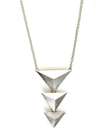 Cool Triangle Necklace - Silver Necklace - Long Necklace
