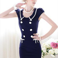 Navy Puff Sleeve Dress