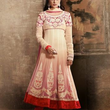 Cream & Pink Appealing Embroidered Anarkali Suit With Lace Work - Salwar Kameez - Women