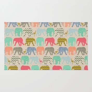 linen baby elephants and flamingos Area & Throw Rug by Sharon Turner | Society6