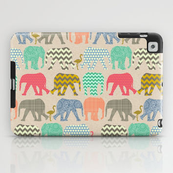 linen baby elephants and flamingos iPad Case by Sharon Turner | Society6