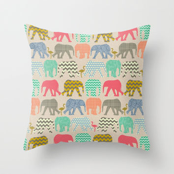 linen baby elephants and flamingos Throw Pillow by Sharon Turner | Society6