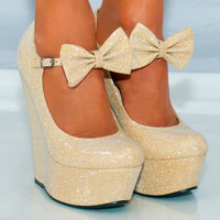 WOMENS  PLATFORM GLITTER SHIMMER SPARKLY HIGH WEDGES SHOES SIZES HEELS 3-8 ANKLE