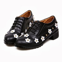 Women's Thick Heel Rivets Flowers Lace Up Round Toe Simple Casual Shoes New 1oc