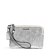 BLEECKER L-ZIP SMALL WRISTLET IN METALLIC CRACKLE CANVAS