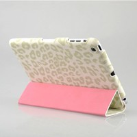 Candywe Leopard Animal Print Premium PU Leather Protective Skin Smart Stand Case Cover Folio for Apple iPad Mini White