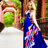 Azure Aztec Braided Halter Jersey Glam Gown by MJVOCouture on Etsy