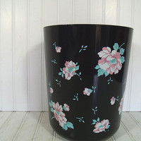 Vintage Shabby Chic Pink Flowers Painted on Black Hygiene Industries Waste Can - Retro Round Plastic Boudoir Bin - Planter Storage Basket