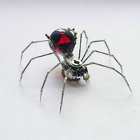 Black Widow Spider Sculpture No 59 Recycled Watch Parts Clockwork Arachnid Figurine Stems Lightbulb Arthropod A Mechanical Mind Gershenson
