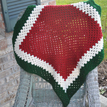 Crochet baby/lap blanket in Christmas colors Red, green, white. Ready to ship.